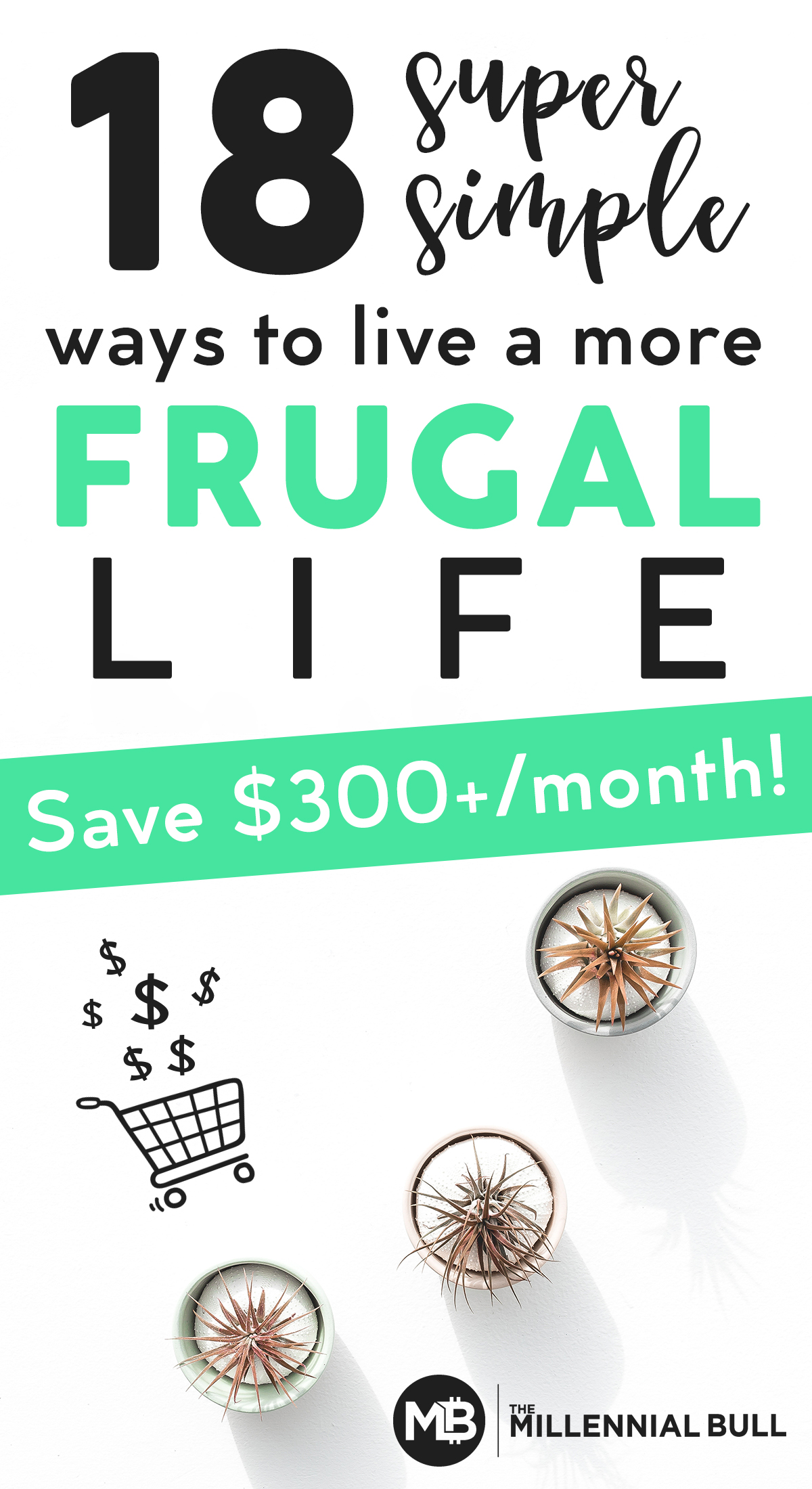 18 super simple ways to live a more frugal life. Learn easy life hacks to save money in live more frugally at home, so you can start gaining control of your personal finances and achieve financial freedom. #frugalliving #frugalhacks #frugallivingtips #frugality