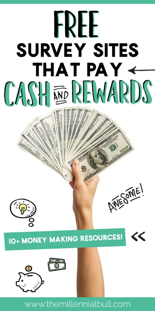 Free survey sites that pay cash and rewards. These money making resources are a great way to make extra money on the side from the comfort of your own home. These 10+ survey sites are some of the most immediate ways to earn cash with surveys, and the safest! #surveysites #earnextracash #sidehustleideas