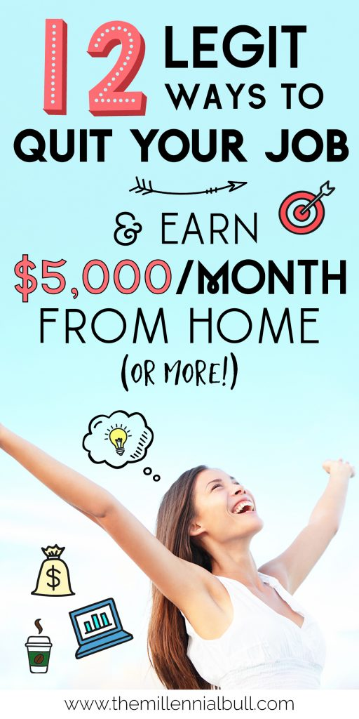 12 legit ways to quit your job and earn $5,000 from home. These work from home jobs are a great way to achieve financial freedom while doing work that you love!