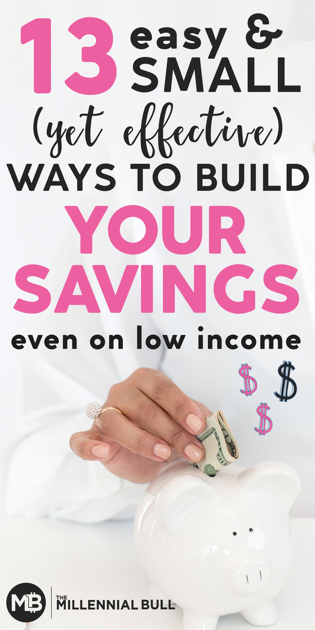 13 easy yet effective ways to build a savings even on a low income. These money saving hacks will help you chip away at your debt and add funds to your savings account with little effort! #savemoney #moneysavinghacks #personalfinance