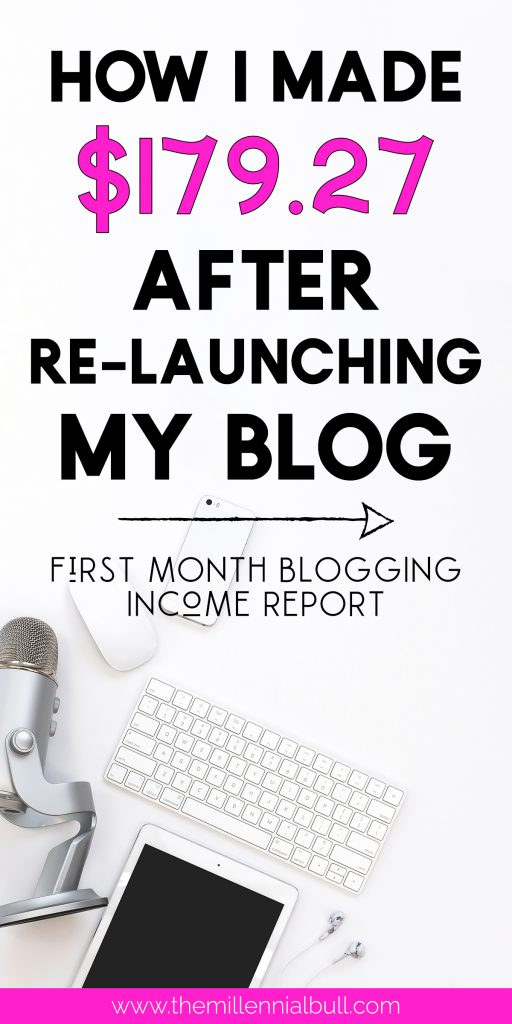 How I made $179.27 after relaunching my blog - how to make money blogging - first month blogging income report