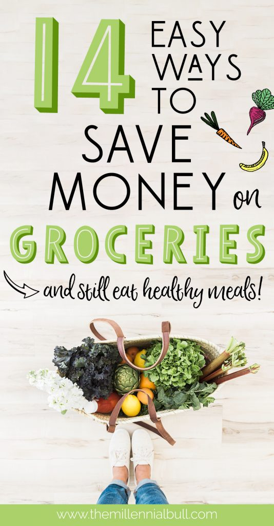 14 easy ways to save money on groceries and still eat healthy meals! Learn how to cut your food budget in half using these effortless money saving tips.