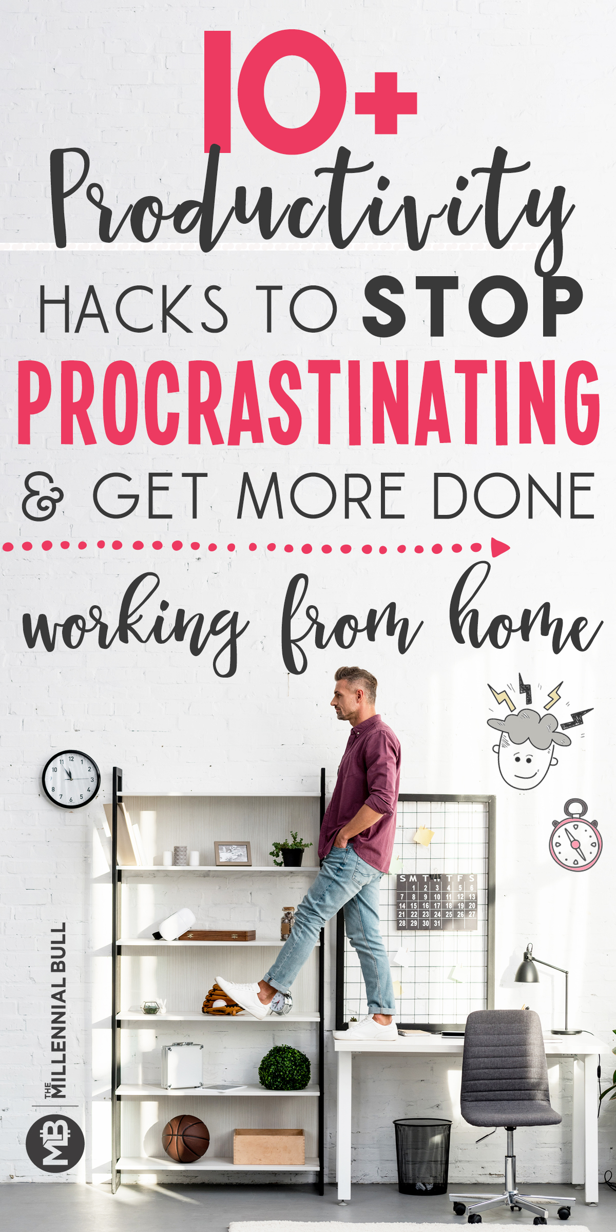 10+ productivity hacks to stop procrastinating and get more done working from home. Learn how to manage your time and be more productive as a freelancer, entrepreneur or stay at home mom with these simple hacks! #productivity #timemanagement #wah #workfromhome