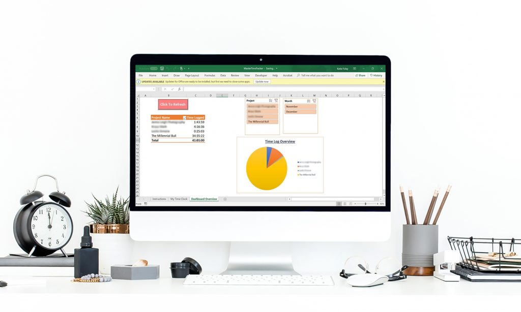 Clean Computer With Excel Dashboard 1500x900b 1024x614 - Advanced Excel Time Tracking Tool