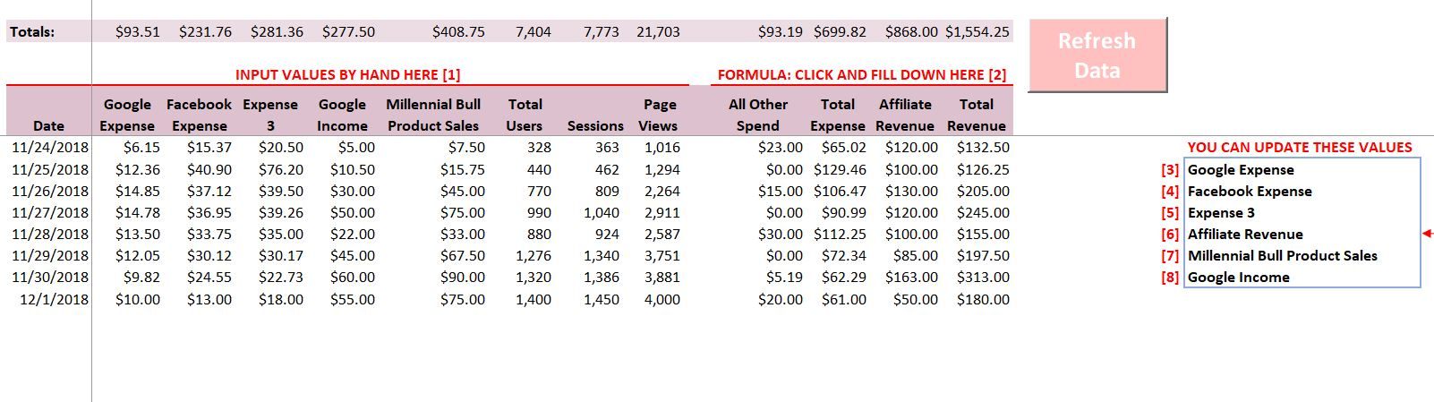 Revenue and Expense Tab - Instructions/Sneak Peek for the Excel Traffic and Income Tracker for Bloggers