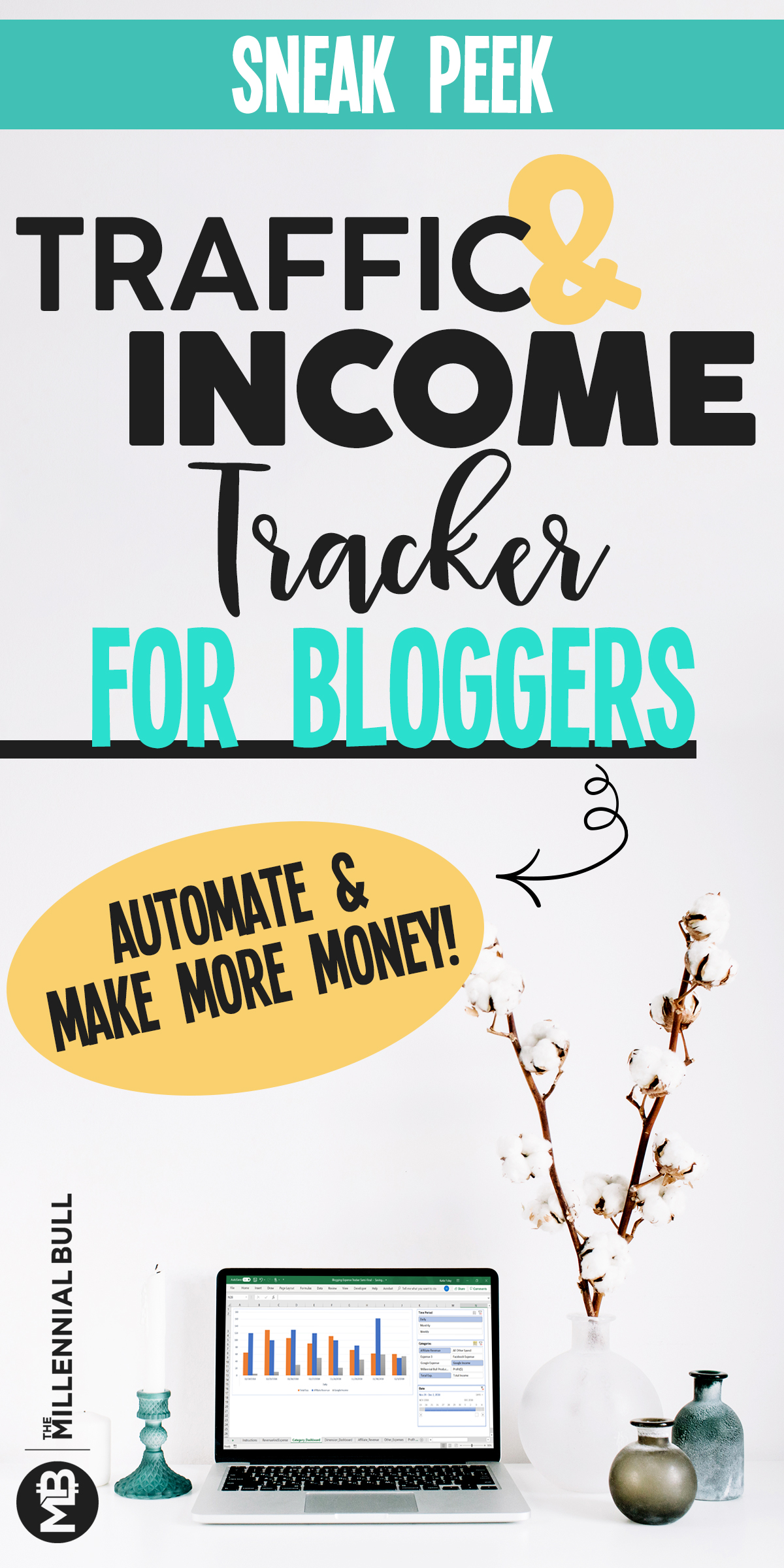 Sneak peak of our traffic and income tracker for bloggers! Automate your data and make more money blogging with this useful tool! Income reports made easy! #trackerforbloggers #incometracker #traffictracker #bloggingtips #bloggingtools